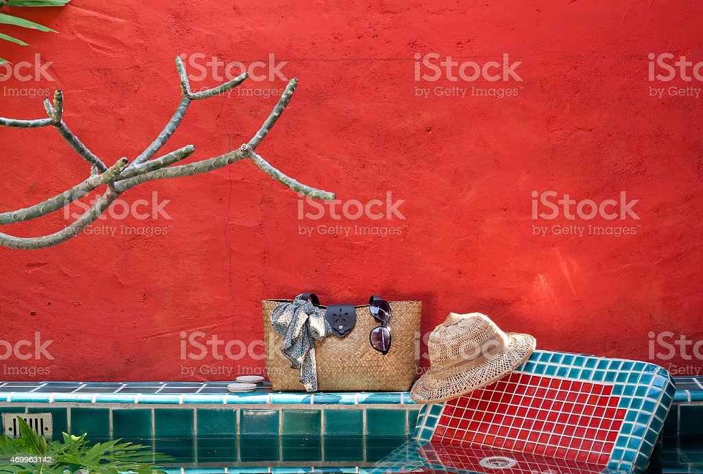 Holiday at the pool side with red concept royalty-free stock photo