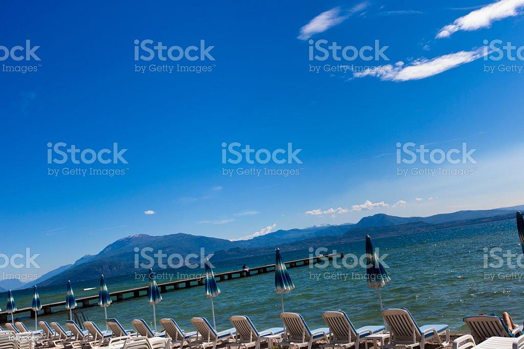 Holiday Background in Sirmione, Lake Garda stock photo