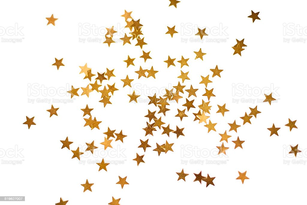 Holiday background with little golden stars stock photo