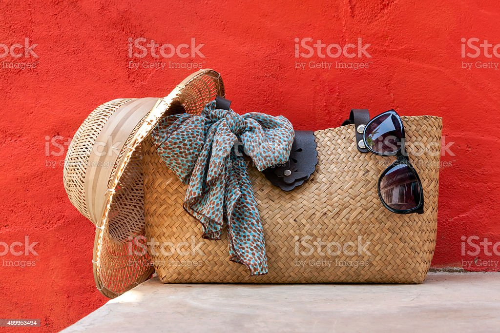 Holiday bag on red wall royalty-free stock photo