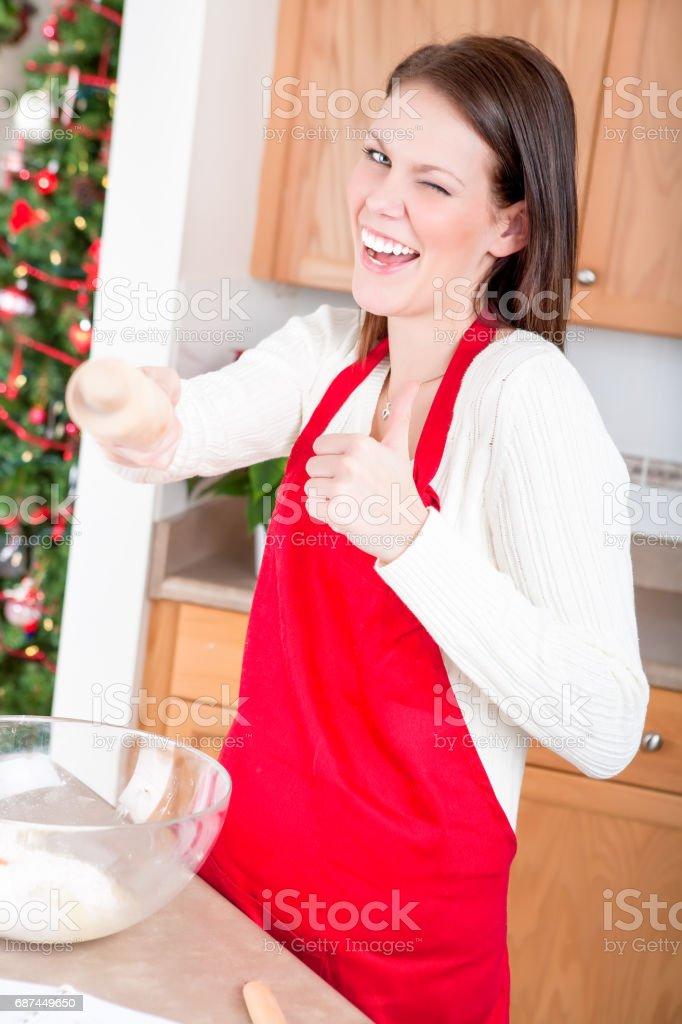 Holiday Baking fun stock photo
