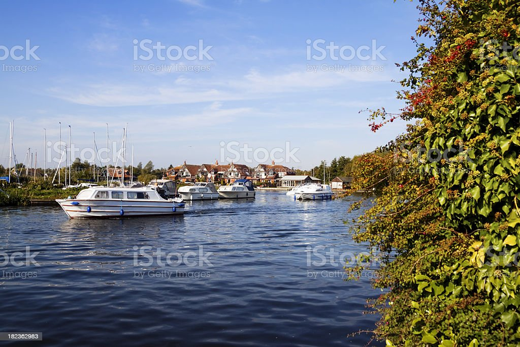 Holiday boats on the River Bure stock photo