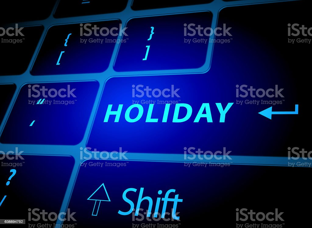 Holiday button on computer keyboard stock photo