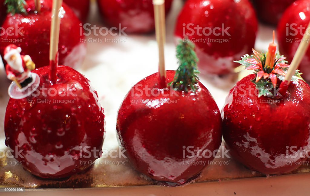 Holiday Candied Red Apples stock photo