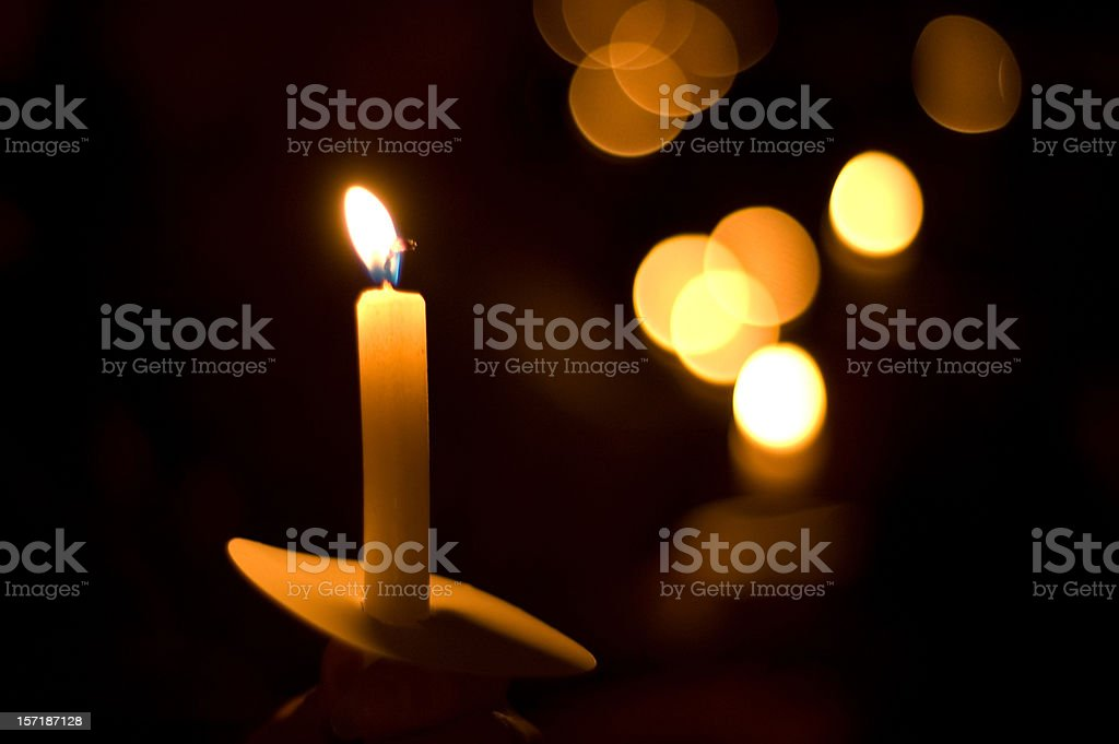 holiday candlelight service or memorial vigil stock photo