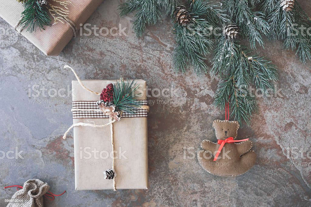 Christmas background with presents and teddy bear. Top view, vintage...