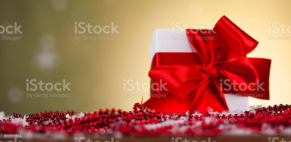 Holiday Christmas background with stack of presents stock photo