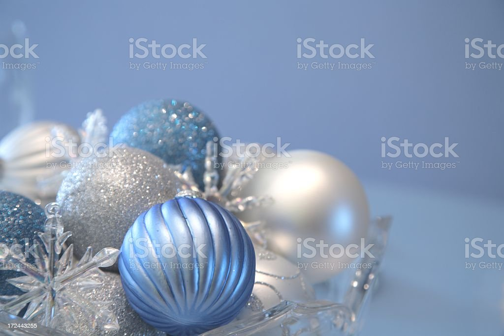 Holiday: Christmas Baubles blue, silver, white ornaments royalty-free stock photo