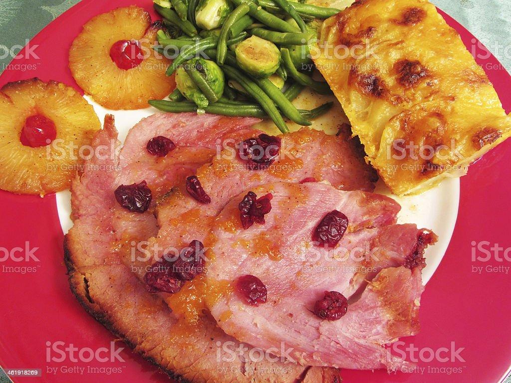 Holiday Christmas Ham Dinner stock photo