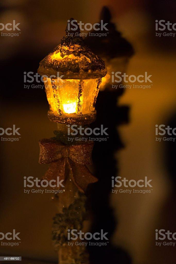 Holiday Christmas Light pole stock photo