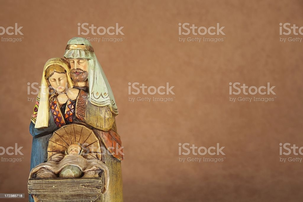 Holiday: Christmas Nativity Trio with copy space horizontal stock photo