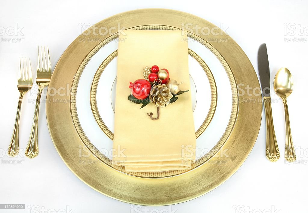 Holiday: Christmas Place Setting with gold and white 2 royalty-free stock photo