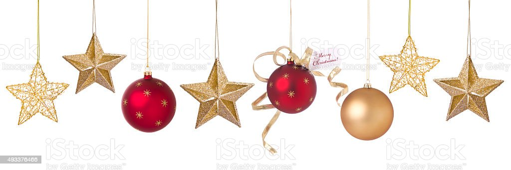 Holiday Christmas Red and Gold Ornaments, Stars and Baubles stock photo