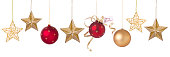 Holiday Christmas Red and Gold Ornaments, Stars and Baubles