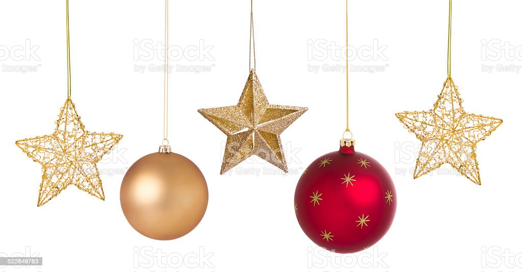 Holiday Christmas red ball ornaments and gold stars stock photo