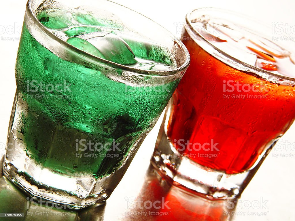 Holiday color drinks with ice stock photo