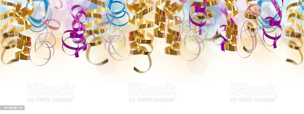 Holiday colorful panoramic background with curling  ribbons on white stock photo
