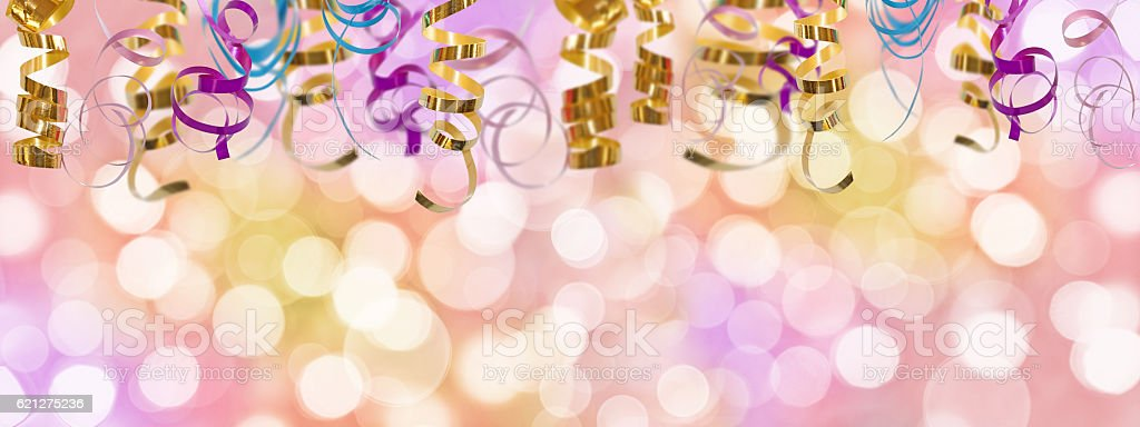 Holiday colorful panoramic background with ribbon and  blurred bokeh lights stock photo