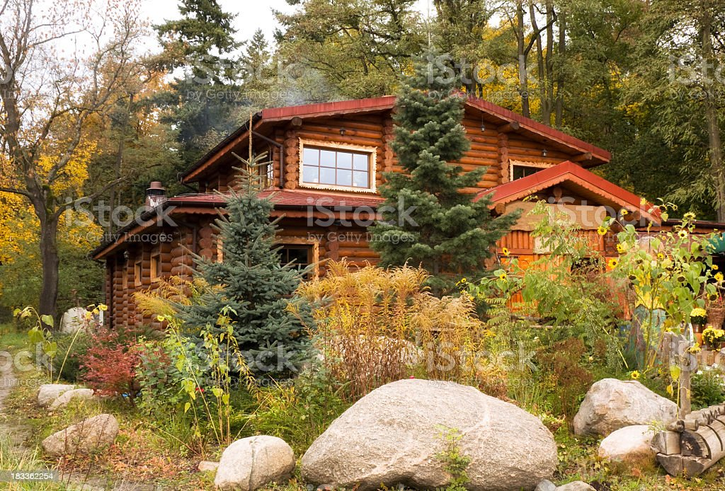 Holiday Cottage in fall royalty-free stock photo