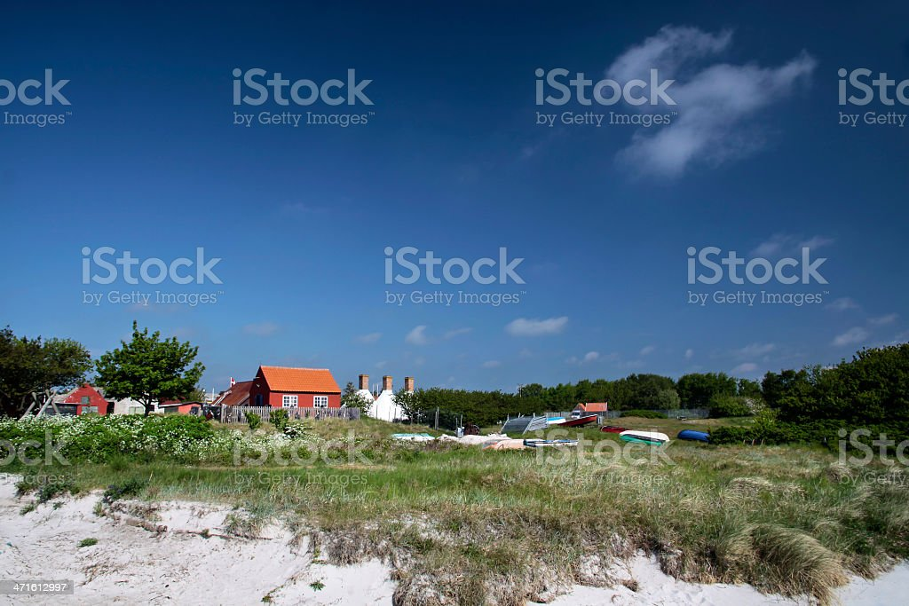 Holiday cottages at the beach on Bornholm royalty-free stock photo