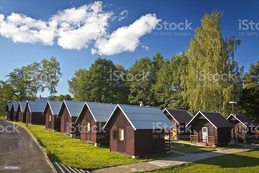 Holiday cottages in summer camping royalty-free stock photo