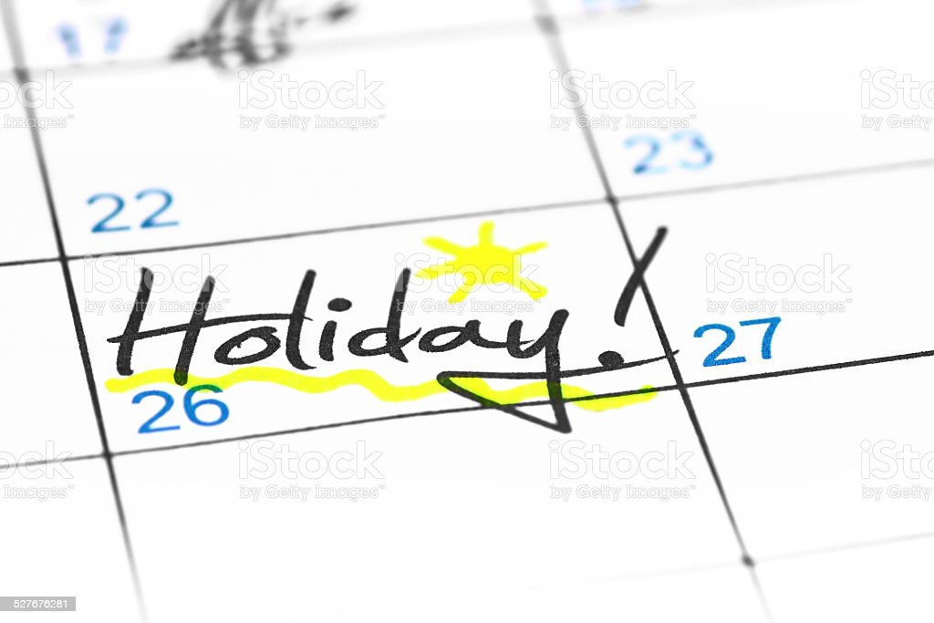 Holiday date in calendar stock photo