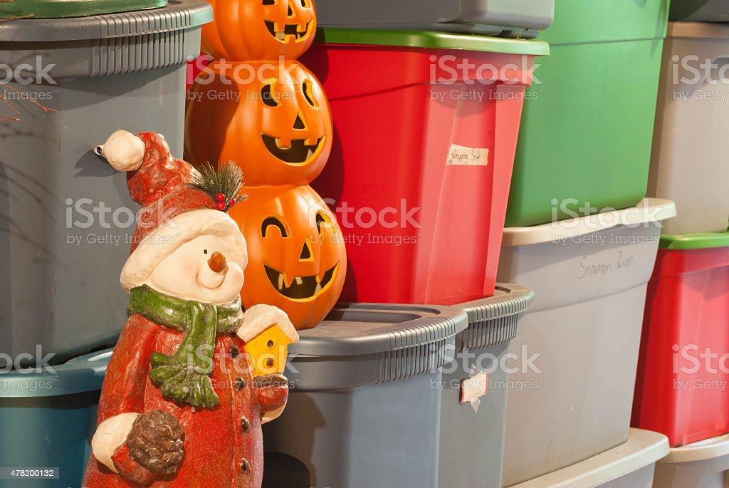 Holiday Decoration Storage stock photo