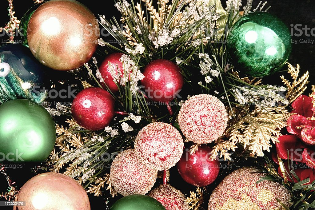 Holiday Decorations with greenery royalty-free stock photo