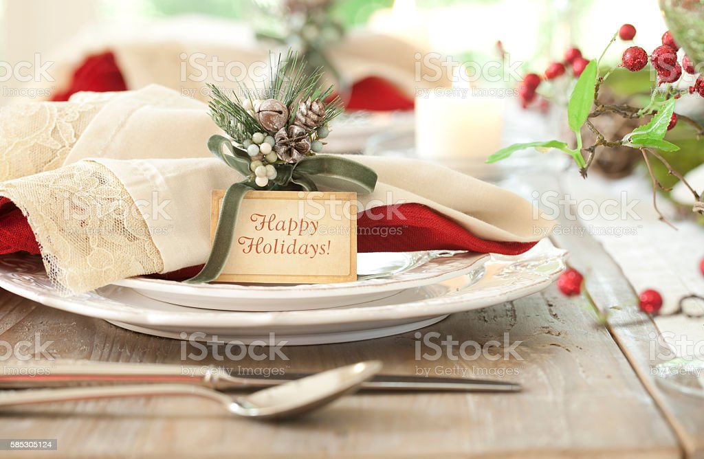 Holiday Dining Table stock photo
