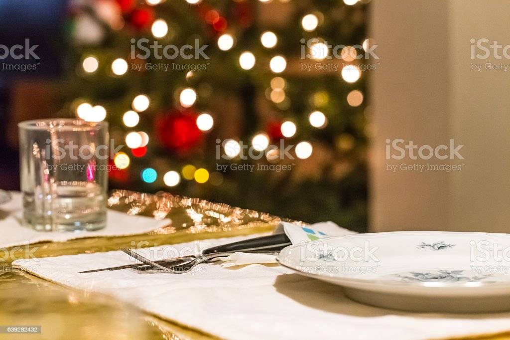 Holiday dinner or lunch table stock photo