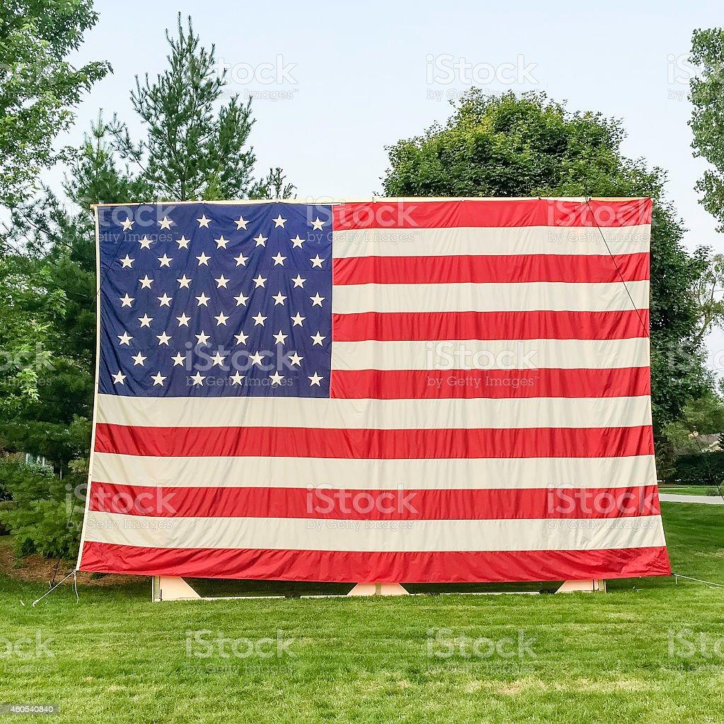 Holiday display of American flag stock photo