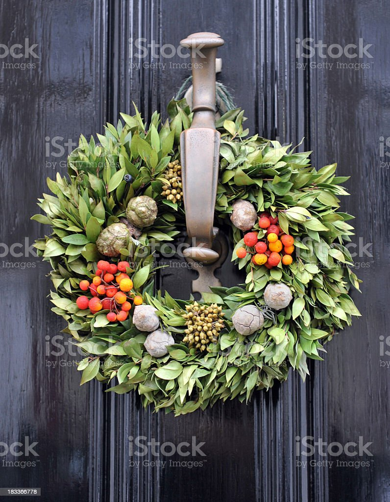 Holiday door decoration stock photo