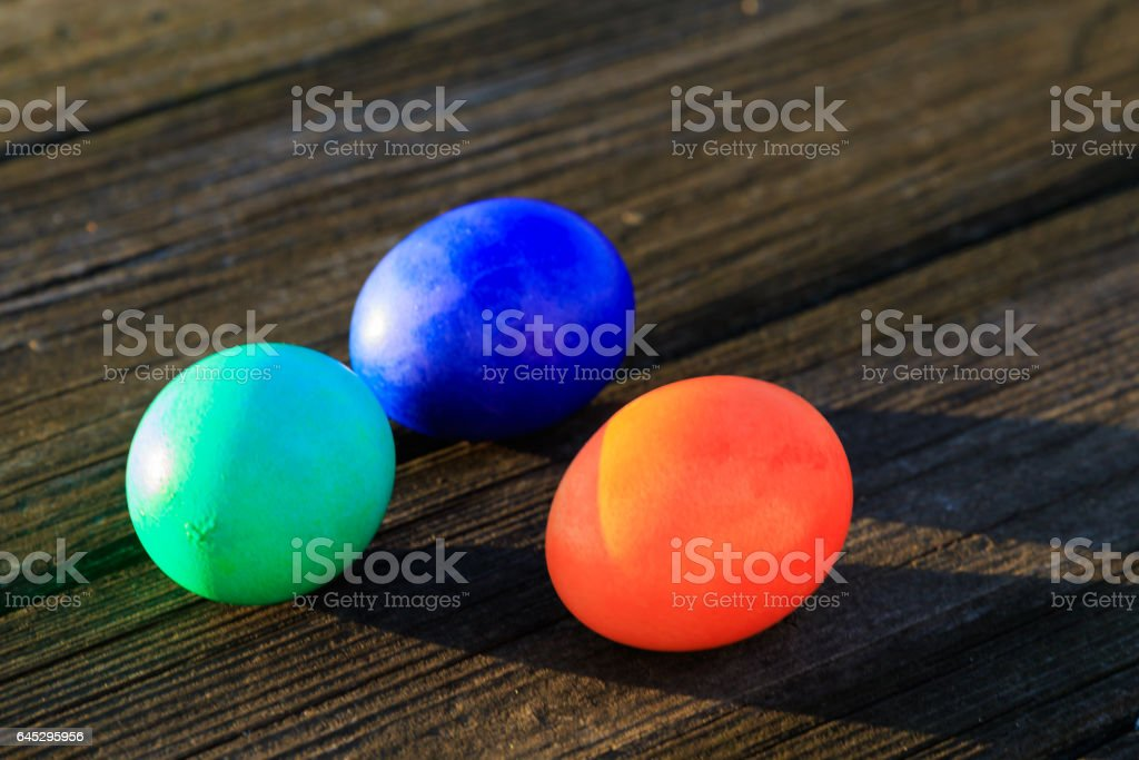 Holiday Easter Eggs on a Picnik table in the Setting Sun, Spring 2017