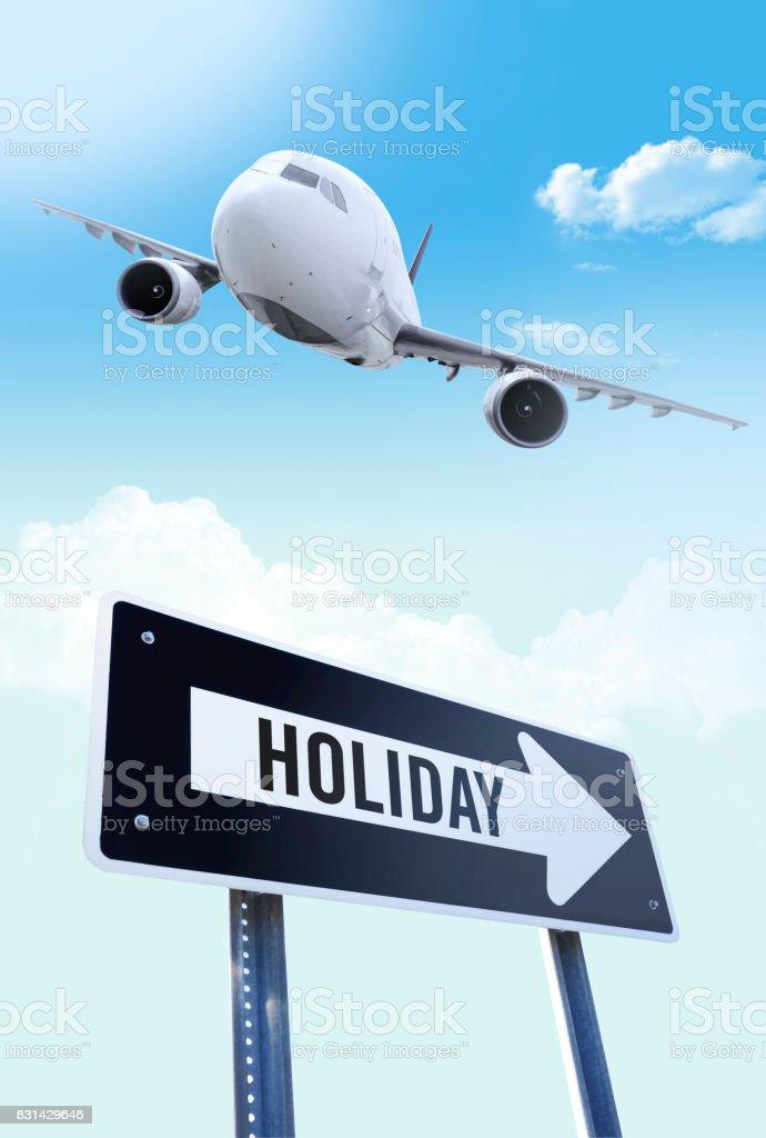Holiday flight stock photo
