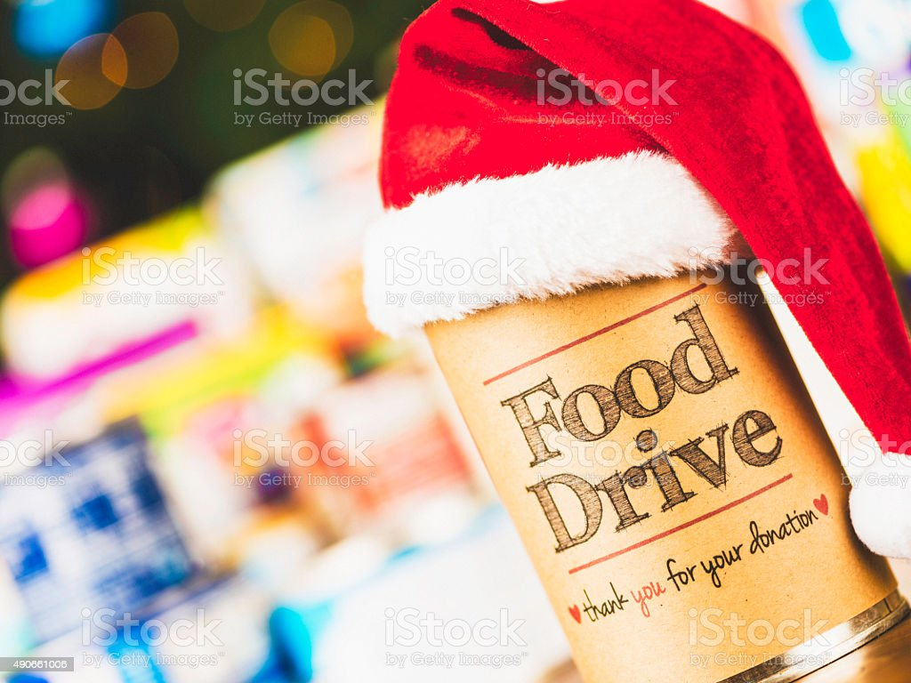 Holiday food drive promotion. Helping the less fortunate. stock photo