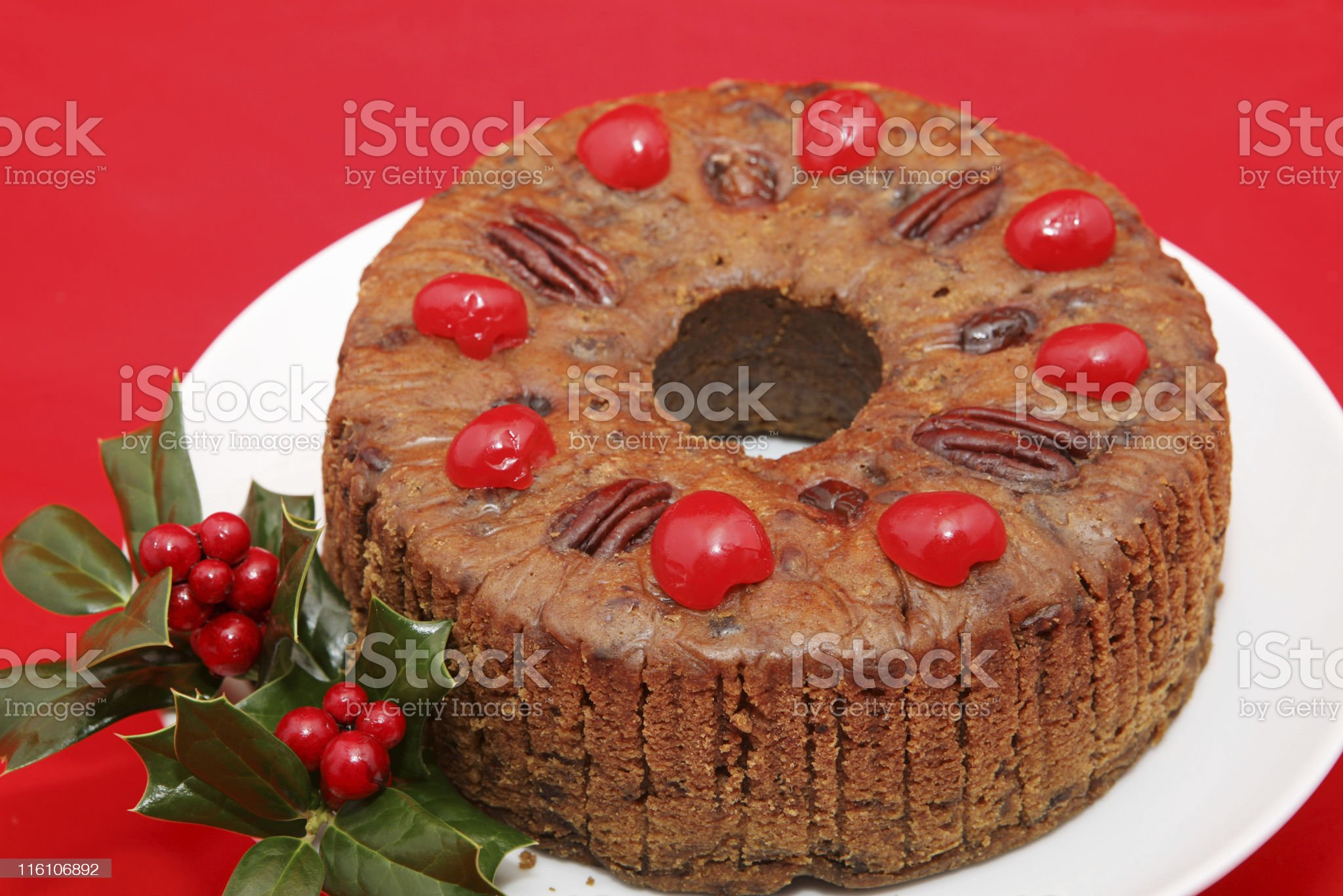 Holiday Fruitcake on Red royalty-free stock photo