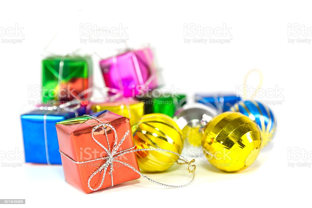 Holiday gift boxes and balls stock photo