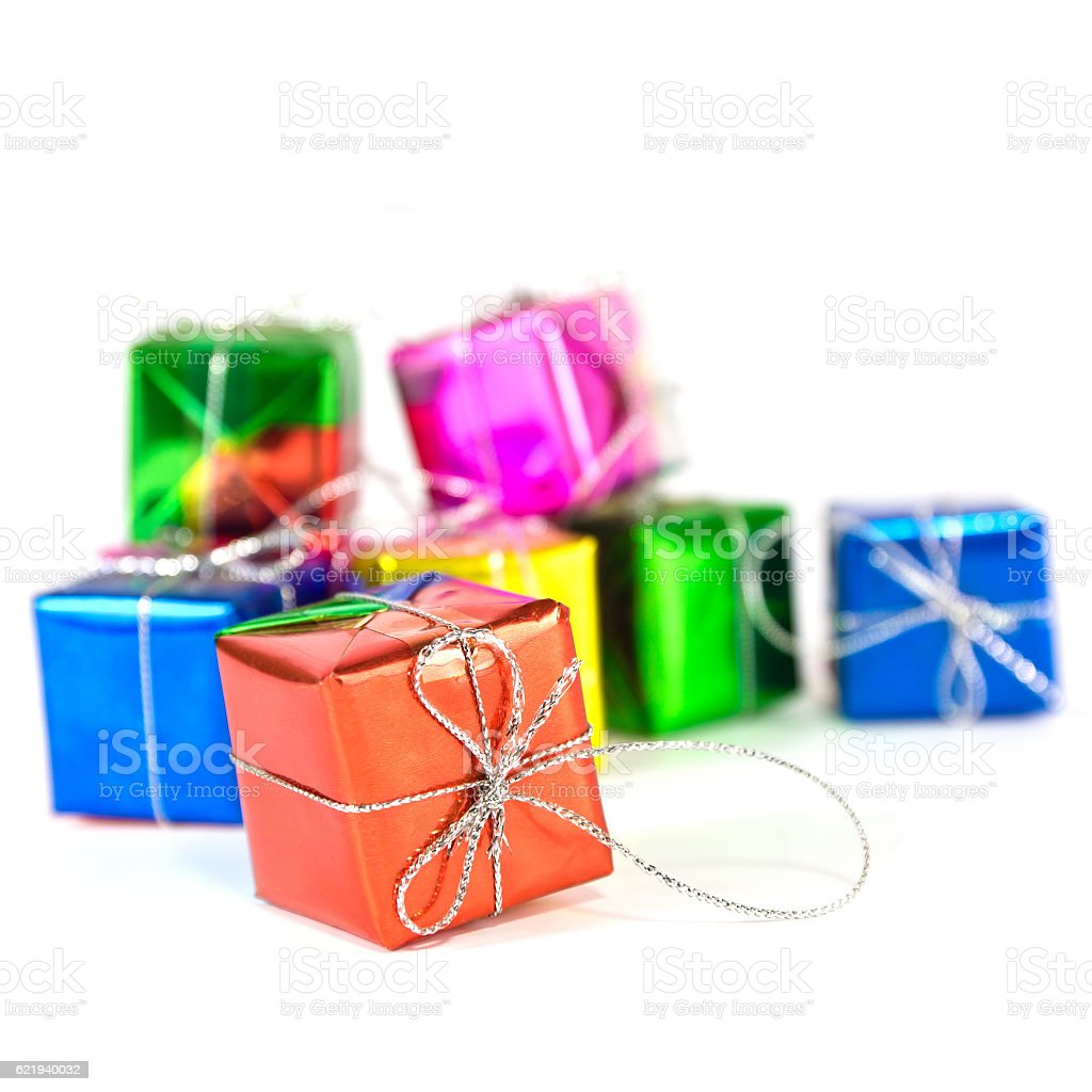 Holiday gift boxes stock photo