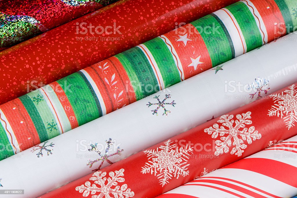 Holiday Gift Wrap Papers stock photo