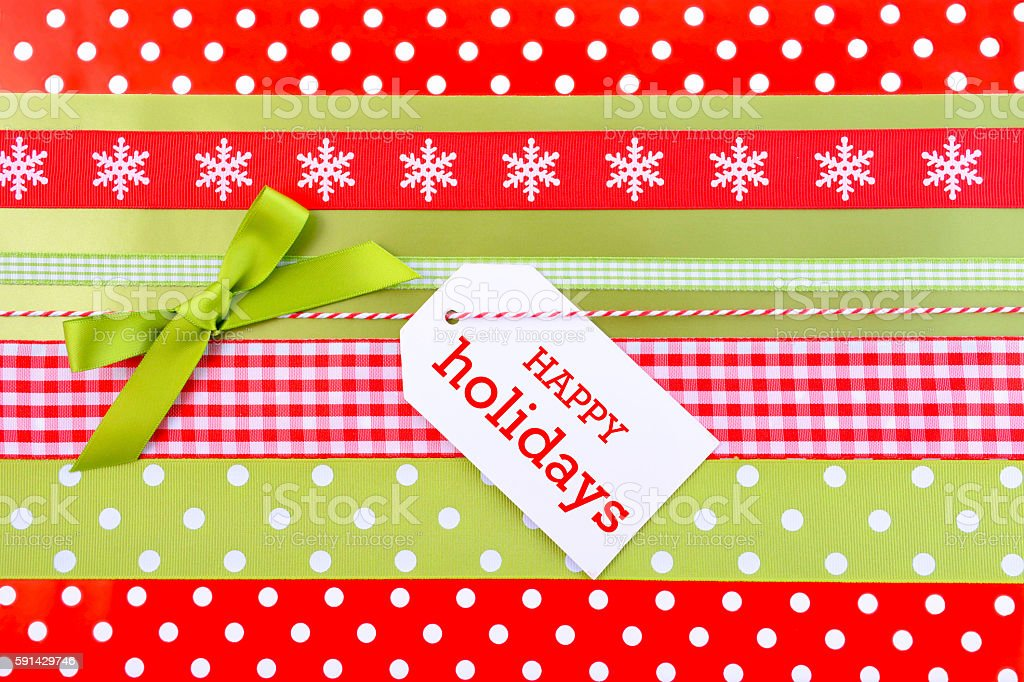 Holiday Gift Wrapping Background. stock photo