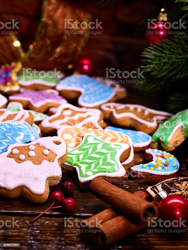 Holiday ginger cake as background on wooden table. stock photo