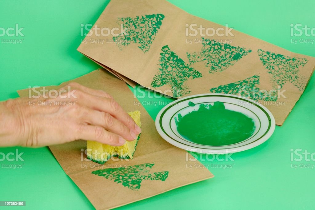 Holiday: Going Green for Christmas with sponge paint royalty-free stock photo