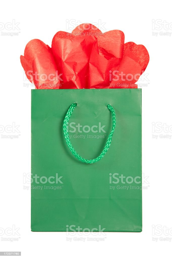 Holiday: green and red Christmas Gift Bags Series royalty-free stock photo