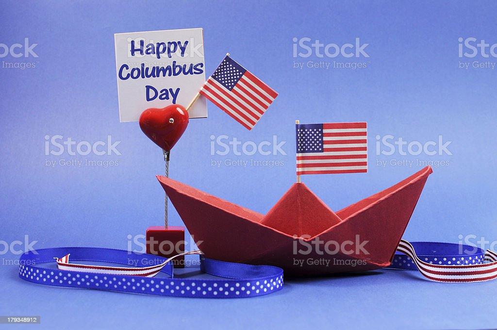 USA holiday, Happy Columbus Day decorations. stock photo