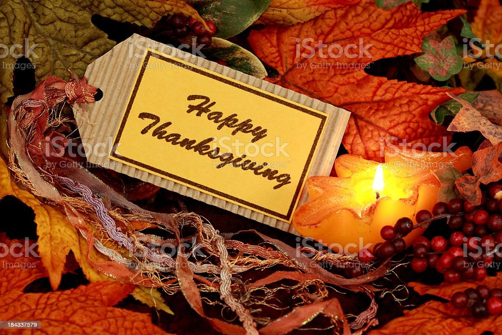 Holiday: Happy Thanksgiving on tag with leaves Still Life royalty-free stock photo