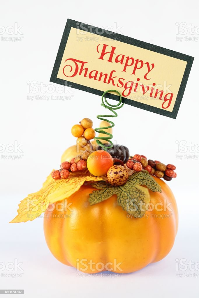 Holiday: Happy Thanksgiving sign with Pumpkin royalty-free stock photo