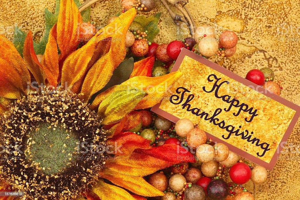 Holiday: Happy Thanksgiving Still Life with sunflower and berries royalty-free stock photo