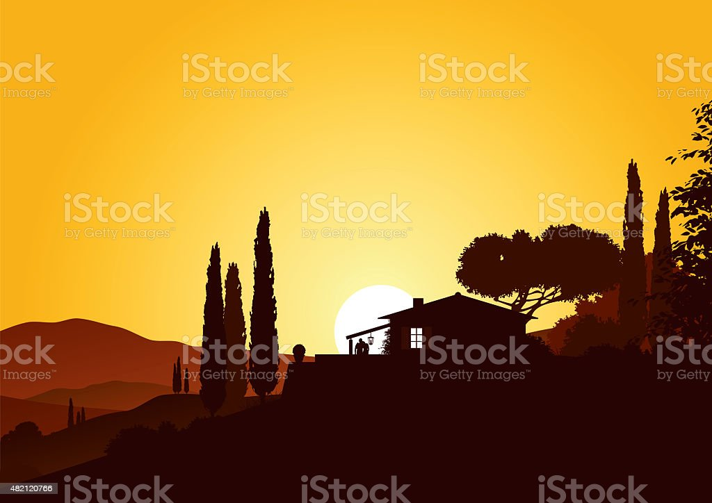 holiday home in sunset stock photo
