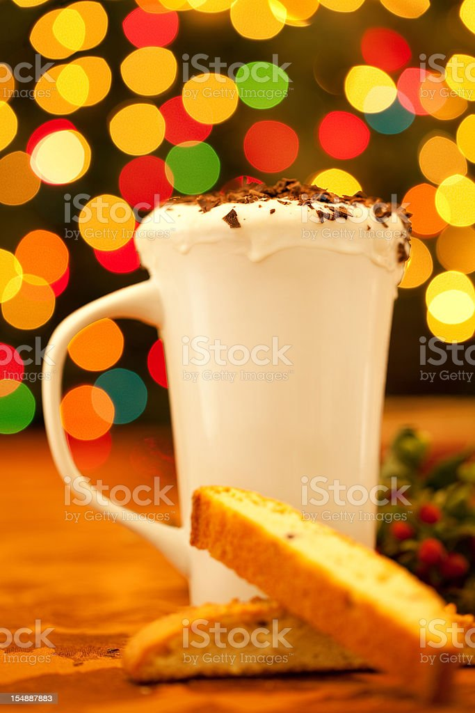 Holiday Hot Beverage & Biscotti royalty-free stock photo