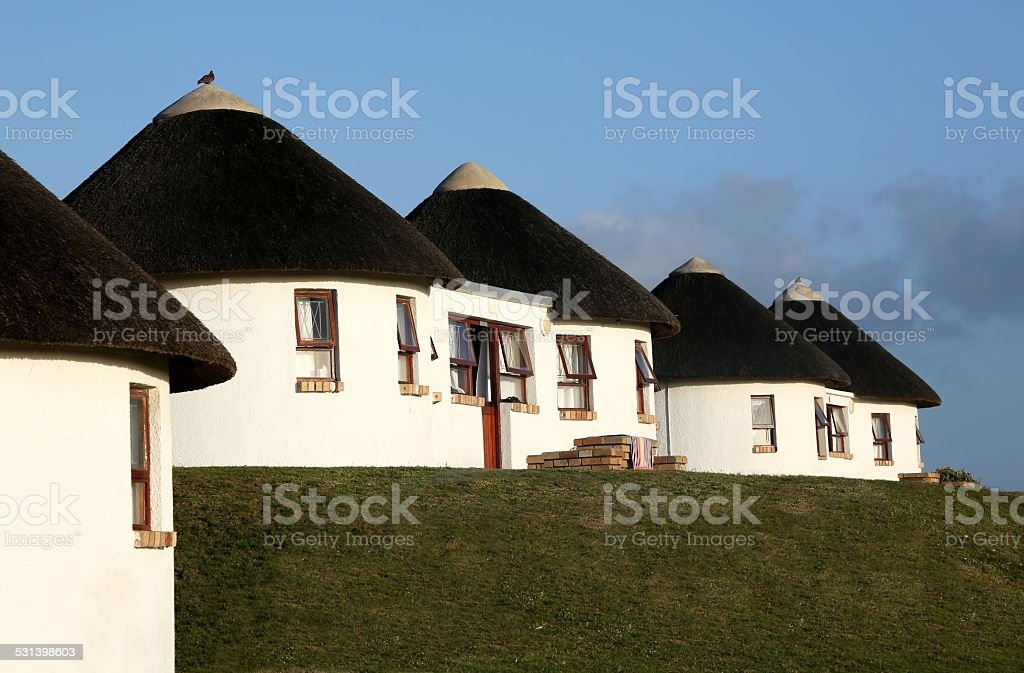 Holiday Houses with Thatched Roof stock photo